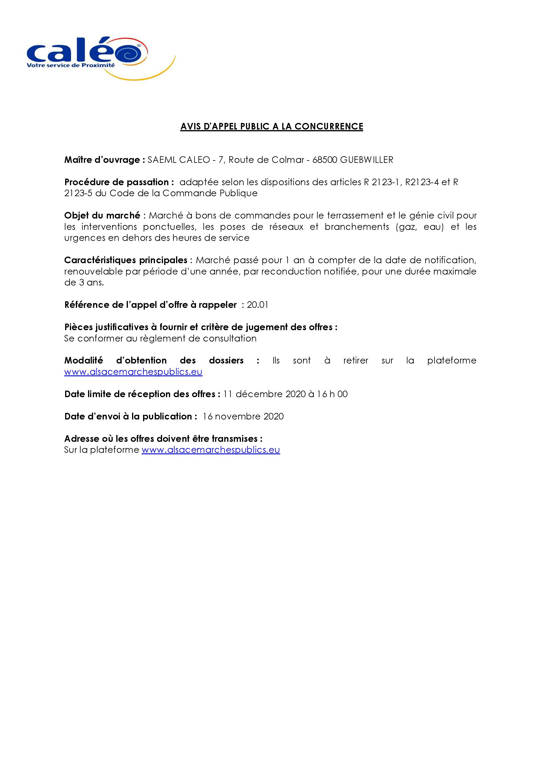 Avis d'appel public à la concurrence